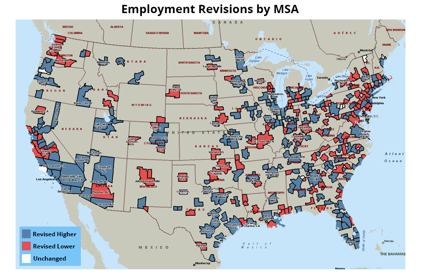 BLS Revisions Include K More Jobs Than Previously Reported - Us msa map