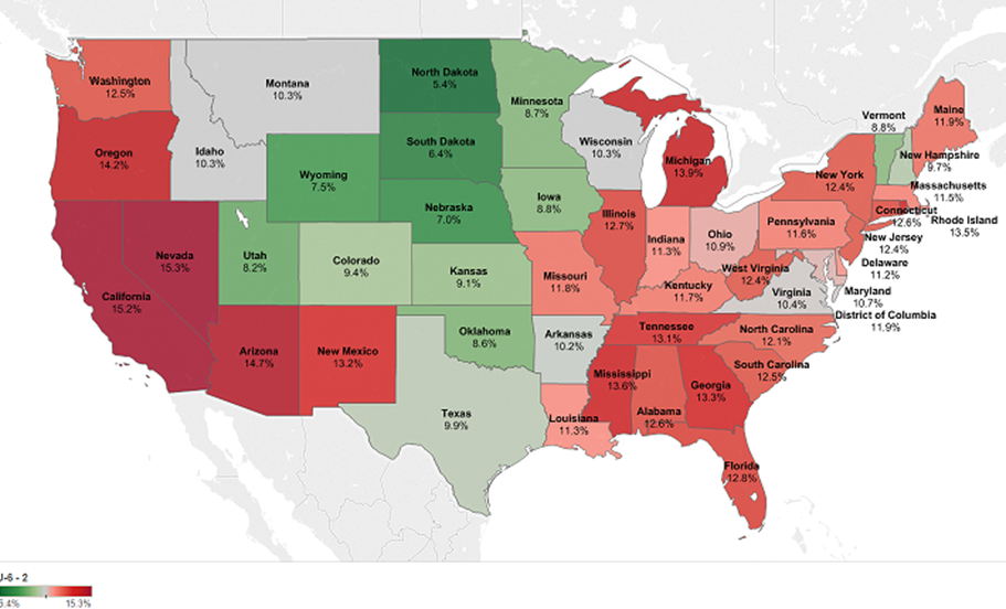 PartTime Labor A FullTime Challenge - Unemployment in the us map